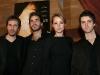 Denis Villeneuve (realisateur), Sebastien Huerdeau (comedien), Karine Vanasse (comedienne et coproductrice) et Maxim Gaudette (comedien). Premiere du film POLYTECHNIQUE au Cinema Imperial de Montreal, le 2 fevrier 2009.