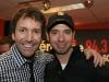 Remise du billet de Platine pour 100 000 billets vendus de leur spectacle -Complices- aux Grandes Gueules (Jose Gaudet et Mario Tessier) a la Radio Energie de Montreal, le 5 fevrier 2009.
