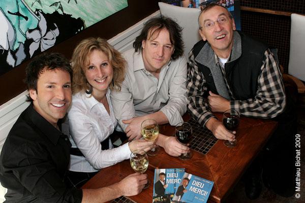 Eric Salvail, Nathalie Laberge, Jean-Marc Letourneau et Gaston Lepage. Lancement du DVD de la saison 1 de l emission DIEU MERCI au bar Le Confessionnal de Montreal, le 29 janvier 2009.