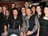 Eric Salvail et Gaston Lepage entoures de l equipe des comediens maison de l emission. Lancement du DVD de la saison 1 de l emission DIEU MERCI au bar Le Confessionnal de Montreal, le 29 janvier 2009.