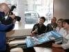 Eric Salvail (animateur et producteur executif), Gaston Lepage (juge), Nathalie Laberge et Jean-Marc Letourneau (producteurs executifs). Lancement du DVD de la saison 1 de l emission DIEU MERCI au bar Le Confessionnal de Montreal, le 29 janvier 2009.