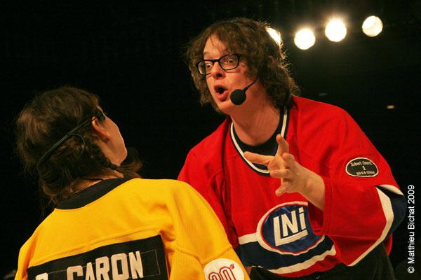 Patrick Drolet. Match 1 de la saison 2009 de la LNI opposant l equipe des Jaunes a l equipe des Rouges, au Petit Medley de Montreal, le 09 fevrier 2009.