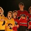 Corinne Giguere, Sophie Caron, Karine Bourbonnais, Francois-Etienne Pare et Zoomba. Match 1 de la saison 2009 de la LNI opposant l equipe des Jaunes a l equipe des Rouges, au Petit Medley de Montreal, le 09 fevrier 2009.