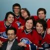 Joelle Pare-Beaulieu, Francois-Etienne Pare, Patrick Drolet, Simaon Rousseau, Alexis Martin (coach), Karine Bourbonnais et Zoomba. Match 1 de la saison 2009 de la LNI opposant l equipe des Jaunes a l equipe des Rouges, au Petit Medley de Montreal, le 09 fevrier 2009.