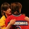 Anne-Elisabeth Bosse et Karine Bourbonnais. Match 1 de la saison 2009 de la LNI opposant l equipe des Jaunes a l equipe des Rouges, au Petit Medley de Montreal, le 09 fevrier 2009.