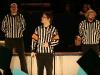 Les arbitres: Eric Richard, Alexandre Cadieux et Christian Paquin-Coutu. Match regulier 2 de la saison 2009 de la LNI, opposant l equipe des Blancs a l equipe des Bleus, au Medley de Montreal, le 16 fevrier 2009.