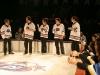 Vincent Bolduc, Martin Boily, Virginie Fortin, Daniel Malenfant et Maryvonne Cyr. Match regulier 2 de la saison 2009 de la LNI, opposant l equipe des Blancs a l equipe des Bleus, au Medley de Montreal, le 16 fevrier 2009.