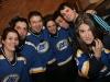 Jolene Morin, JF Aube, Rene Rousseau, Isabelle Brouillette, Frederic Barbusci, Christian Laurence (coach) et Salome Corbo. Match regulier 2 de la saison 2009 de la LNI, opposant l equipe des Blancs a l equipe des Bleus, au Medley de Montreal, le 16 fevrier 2009.