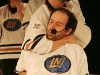 Vincent Bolduc et Martin Boily. Match regulier 2 de la saison 2009 de la LNI, opposant l equipe des Blancs a l equipe des Bleus, au Medley de Montreal, le 16 fevrier 2009.