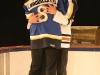 Vincent Bolduc et Isabelle Brouillette. Match regulier 2 de la saison 2009 de la LNI, opposant l equipe des Blancs a l equipe des Bleus, au Medley de Montreal, le 16 fevrier 2009.