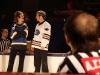 Isabelle Brouillette et Vincent Bolduc. Match regulier 2 de la saison 2009 de la LNI, opposant l equipe des Blancs a l equipe des Bleus, au Medley de Montreal, le 16 fevrier 2009.