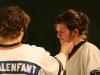 Daniel Malenfant et Maryvonne Cyr. Match regulier 2 de la saison 2009 de la LNI, opposant l equipe des Blancs a l equipe des Bleus, au Medley de Montreal, le 16 fevrier 2009.