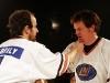 Martin Boily et Daniel Malenfant. Match regulier 2 de la saison 2009 de la LNI, opposant l equipe des Blancs a l equipe des Bleus, au Medley de Montreal, le 16 fevrier 2009.
