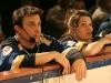 Frederic Barbusci et Jolene Morin. Match regulier 2 de la saison 2009 de la LNI, opposant l equipe des Blancs a l equipe des Bleus, au Medley de Montreal, le 16 fevrier 2009.